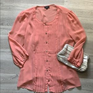 Talbots pleated front blouse with matching tank.